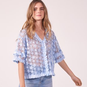 Starry Lace Top With Ruffles - Tops & Shirts - Sandro-paris.com
