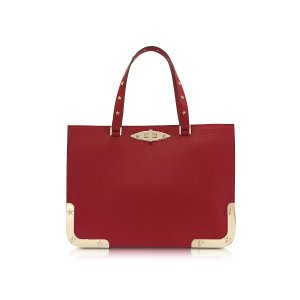 RED Valentino Red Medium Double Handle Leather Bag at FORZIERI