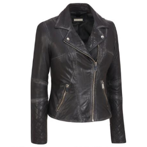 Black Rivet Asymmetric Leather Moto Jacket w/ Distressed and Quilting Detail - Short - Women's & Plus Size - Wilsons Leather