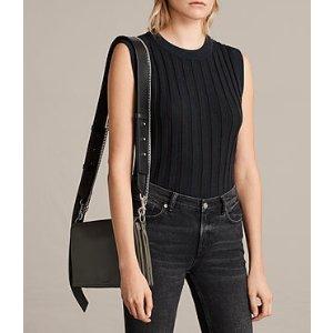 ALLSAINTS US: Womens Zep Box Bag (Dark Khaki)