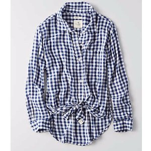 AEO Tie Front Button Down Shirt , Blue | American Eagle Outfitters