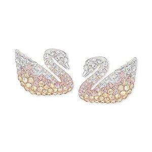 Swarovski Silver-Tone Ombr� Crystal Swan Stud Earrings - Jewelry & Watches - Macy's