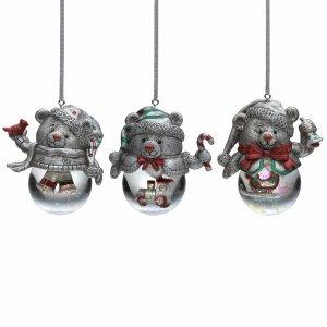 Celebrations by Mikasa® Set of 3 Bear Snow Globe Ornaments