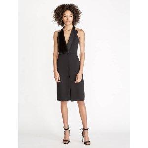 Halston Heritage -Crepe / Satin Tuxedo Dress
