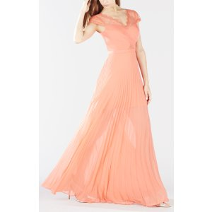 Madalena Cross-Bodice Pleated Gown