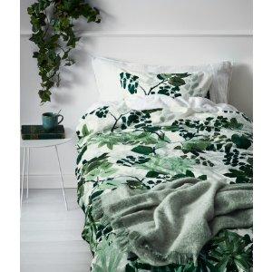 Leaf-print Duvet Cover Set | White/green | H&m home | H&M US