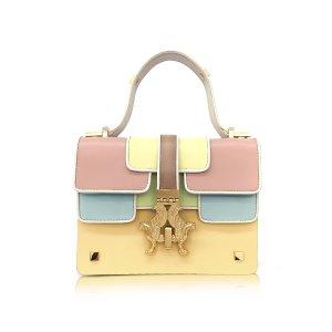 Giancarlo Petriglia Sabrina P-Bag Color Block Leather Handle Bag
