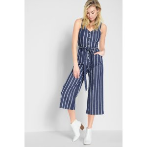Button Front Playsuit in Seaside Stripe - 7FORALLMANKIND