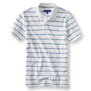 Thin Stripe Stretch Pique; Polo