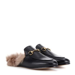 Princetown Fur-Lined Leather Slippers - Gucci