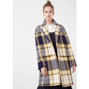 Checkered wool-blend coat - Women | OUTLET USA