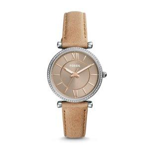 Carlie Three-Hand Sand Leather Watch