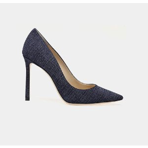 Jimmy Choo Romy 100 Denim Pointy-Toe Pump Pumps | ELEVTD Free Shipping & Returns
