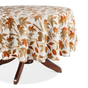 White Printed Leaf Tablecloth - Threshold™