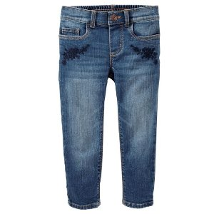 Embroidered Girlfriend Fit Jeans - Gemma Wash