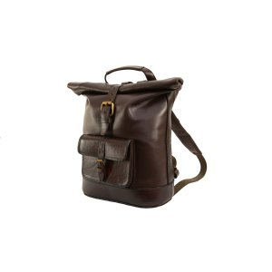 Large Brown Roll Top Leather Backpack by Beara Beara
