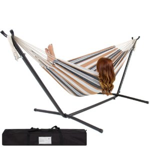 Double Hammock With Space Saving Steel Stand Includes Portable Carrying Case | eBay