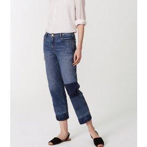 Straight Crop Patchwork Jeans in Indigo Wash | LOFT
