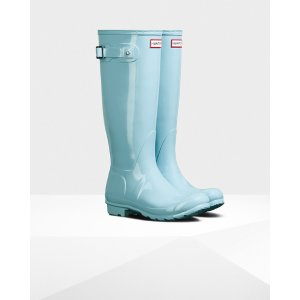 Womens Blue Tall Gloss Rain Boots | Official US Hunter Boots Store