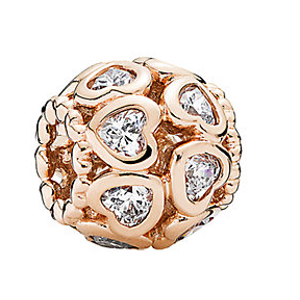 PANDORA 14K Rose Gold Plated CZ Love All Around Charm