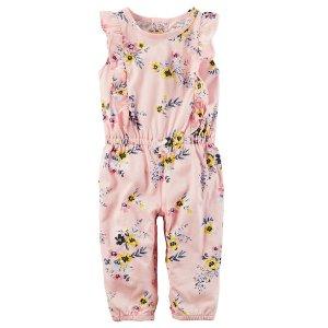 Flutter-Sleeve Floral Jumpsuit