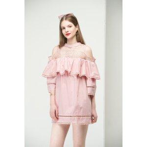 Cold Shoulder Mesh Ruffle Dress DR1457