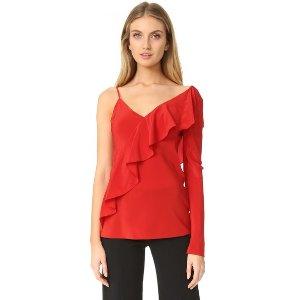 Diane von Furstenberg Asymmetrical Sleeve Ruffle Front Blouse | SHOPBOP