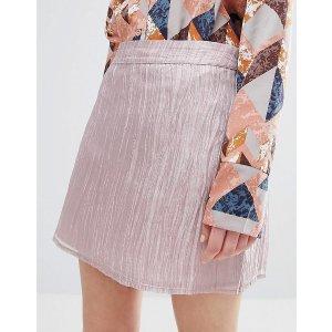 Neon Rose Luxe Mermaid Layered Mini Skirt