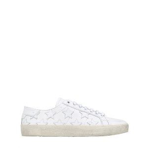 SAINT LAURENT - 10MM COURT CLASSIC STAR LEATHER SNEAKERS - SNEAKERS - WHITE - LUISAVIAROMA