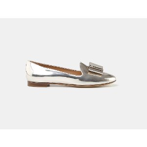 Salvatore Ferragamo Elisabel Metallic Leather Bow Loafer Loafers | ELEVTD Free Shipping & Returns