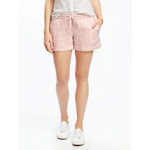 Mid-Rise Cuffed Linen-Blend Shorts for Women (4