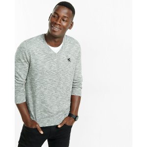 Marled Cotton V-neck Sweater