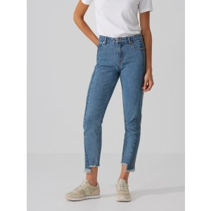 The Stevie High-Waisted Raw Edge Jean in Contrast Indigo
