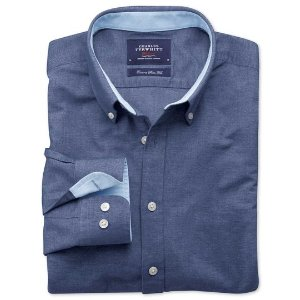 Extra slim fit blue washed Oxford shirt | Charles Tyrwhitt