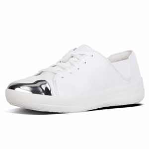 Mirror-Toe Leather Lace-Up Sneakers