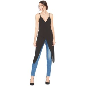 Black Arlie Long Crssover Cami With Leather