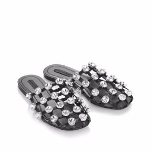 AMELIA SANDAL WITH GLASS STONES | FLATS | Alexander Wang Official Site