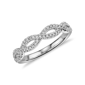 Infinity Twist Micropavé Diamond Wedding Ring in 14k White Gold (1/5 ct. tw.) | Blue Nile