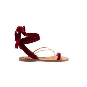 Valentino   Velvet and leather sandals