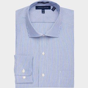 Tommy Hilfiger Blue Stripe Classic Fit Dress Shirt - Men's Classic Fit | Men's Wearhouse