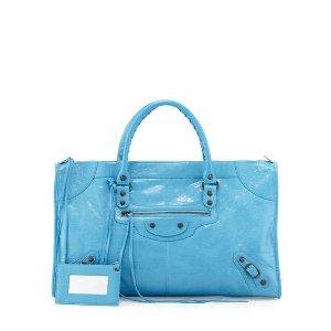 Balenciaga Classic Work Lambskin Tote Bag, Blue