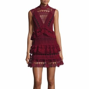 Self-Portrait Sleeveless Tiered Lace Mini Dress, Burgundy