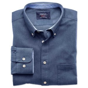 Classic fit blue washed Oxford shirt | Charles Tyrwhitt