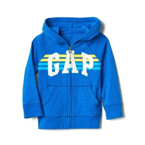 Stripe logo raglan zip hoodie | Gap