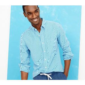 Slim washed shirt in mini-gingham : Shirts | J.Crew Factory