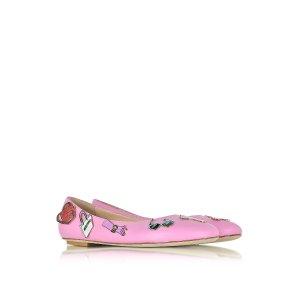 Moschino Pink Leather Flat Ballerinas