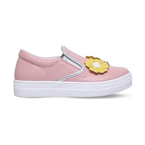 Flower Stud leather sneakers 6-9 years