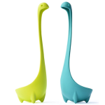 Windaze Nessie Soup Ladle - Toughened 100% Food Grade Nylon Dishwasher Safe Loch Ness Monster Stand Upright Kitchen Utensil, Set of 2 Spoons (Blue & Chartreuse Yellow)