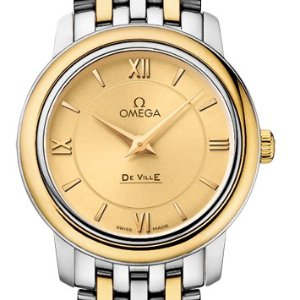 $2295OMEGA De Ville Prestige Champagne Dial Stainless Steel & 18kt Yellow Gold Ladies Watch