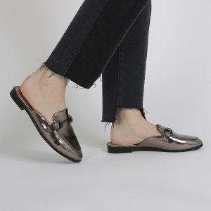 Louisa Backless Loafers in Pewter Metallic   Public Desire
